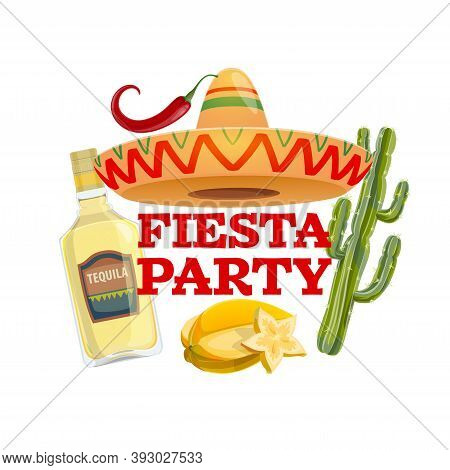 Fiesta Party Vector Icon With Traditional Mexican Sombrero Hat, Tequila Glass Bottle, Carambola Frui