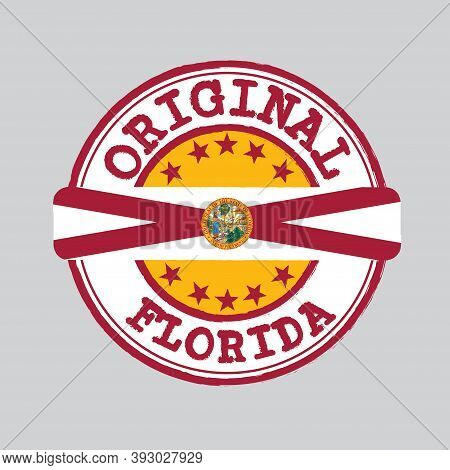 Vector Stamp Of Original Logo And Tying In The Middle With Florida Flag, The States Of America. Grun