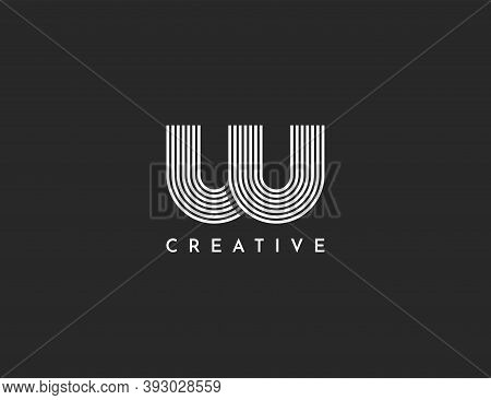 Initial Letter Logo W Lowercase, Linkage Of Lines Vector Illustration Template. Abstract Letter M Lo
