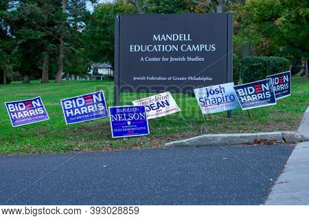 November 3, 2020 - Elkins Park, Pennsylvania: Democratic Election Signs Out Front Of A Polling Stati