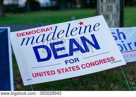 November 3, 2020 - Elkins Park, Pennsylvania: A Madeleine Dean Sign At A Polling Station On Election