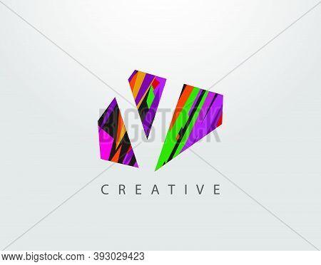 Creative Letter V Logo. Abstract V  Letter Design, Made Of Various Strips Shapes In Color.