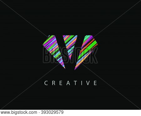 Letter V Abstract Diamond Logo. Creative V Letter Design With Colorful Strips On Diamond Shapes.