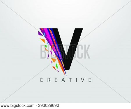 Creative Letter V Logo. Mosaic Abstract V Letter Design, Made Of Various Strips Shapes In Color.