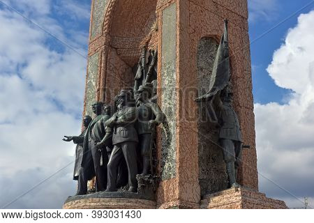 Turkey, Istanbul 20,03,2018 Monument Republic. The Republic Monument Is A Famous Monument Located On