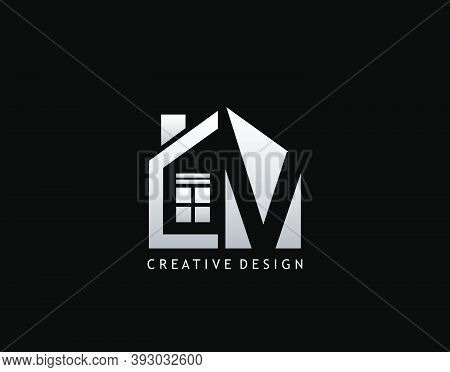 V Letter Logo. Negative Space Of Initial V With Minimalist House Shape Icon.