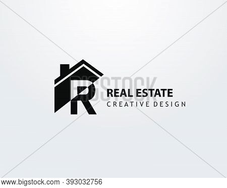 R Letter Logo. House Shape With Negative Letter H, Real Estate Architecture Construction Icon Design