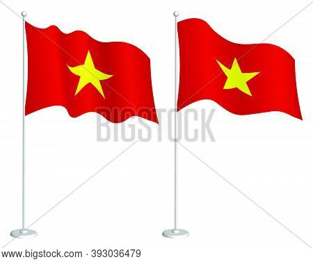 Flag Of Republic Of Vietnam On Flagpole Waving In Wind. Holiday Design Element. Checkpoint For Map S