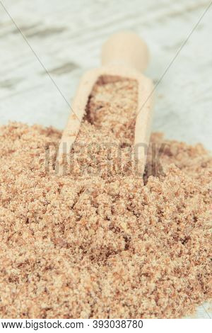 Ground Linseed As Healthy Food Containing Natural Vitamins, Dietary Fiber And Acids Omega