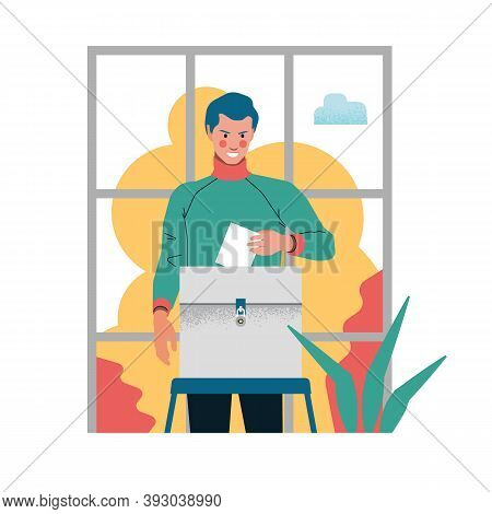Elector - A Man Voting In The Elections, Putting A Ballot In The Ballot Box, Minimalistic Flat Illus