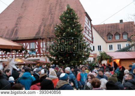 Christmas And New Year In Europe.christmas Festive Market In A Square In Germany.soft Focus. Christm