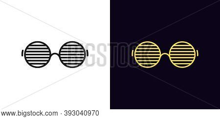 Outline Men Glasses Icon With Editable Stroke. Linear Sunglasses With Round Shapes, Vivid Eyewear. F