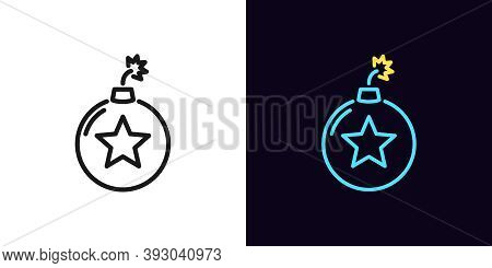 Outline Bomb Icon With Editable Stroke. Linear Bomb Sign With Star, Explosive Rating. Hit Parade, To