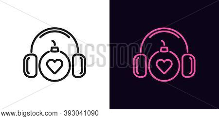 Outline Bomb Icon With Editable Stroke. Linear Bomb With Headphones And Heart Sign, Explosive Sound.