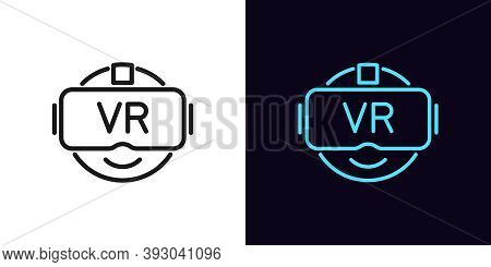 Outline Vr Glasses Icon. Linear Emoji With Vr Headset With Editable Stroke, Vr Gaming Technology. Ga