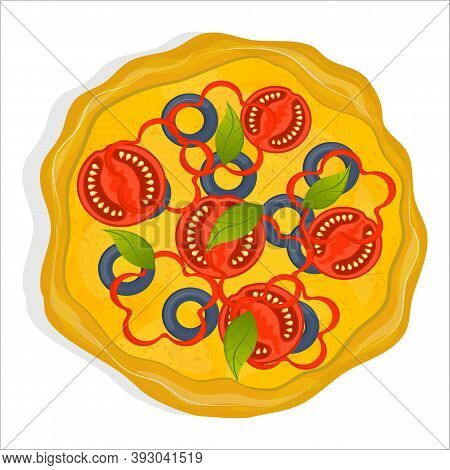 Vegetarian Pizza With Tomatoes, Olives, Peppers And Basil Isolated On A White Background. A Dish Fro