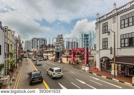 Singapore - December 4, 2019: Street View Of Chinatown Singapore At Cloudy Day With With Entrance Ga