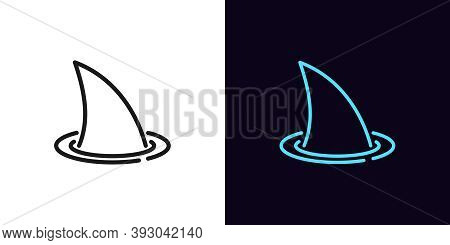 Outline Shark Fin, Icon With Editable Stroke. Linear Silhouette Of Shark Fin. Hidden Threat And Dang