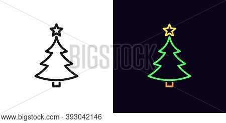 Outline Christmas Tree With Star, Icon With Editable Stroke. New Year Tree Silhouette, Linear Christ