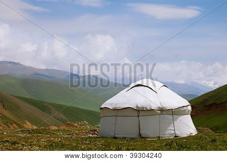 real shepherd yurt in kyrgyzstan Tien Shan mountain, alabel pass