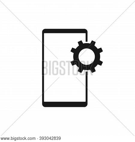 Phone Setup Gear Icon. Vector Illustration Style Is A Flat Icon Phone Setup Gear Symbol