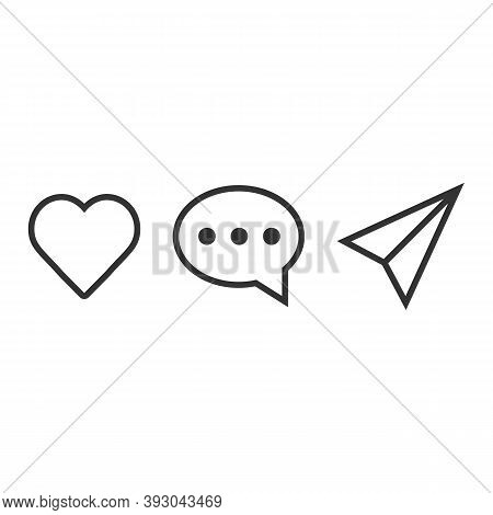 Abstract Vector Line Icons Design. Like, Comment And Share Icon Set. Social Media Notification Comme
