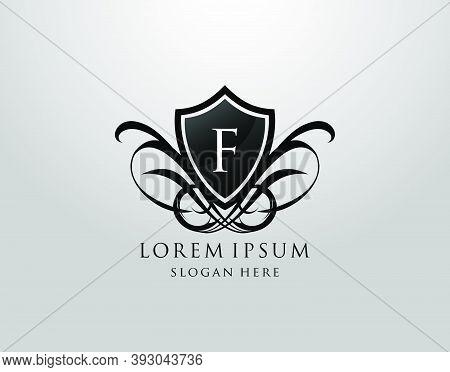 Majestic F Letter Logo. Vintage F Shield Design For Royalty, Restaurant, Automotive, Letter Stamp, B