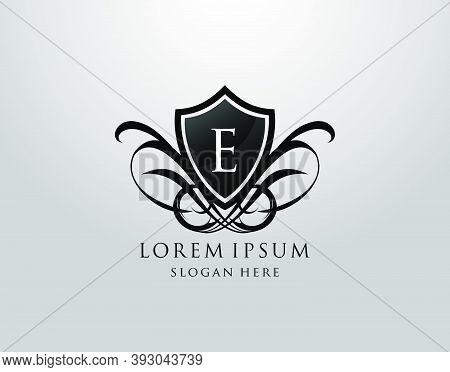 Majestic E Letter Logo. Vintage E Shield Design For Royalty, Restaurant, Automotive, Letter Stamp, B