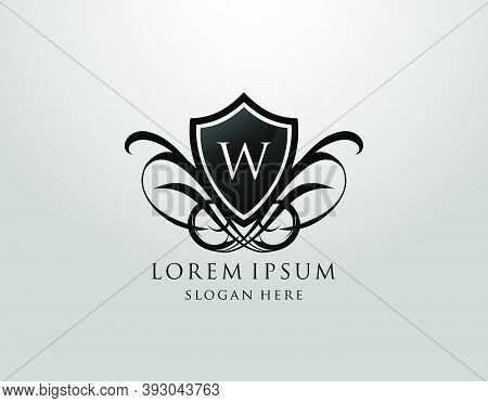 Majestic W Letter Logo. Vintage W Shield Design For Royalty, Restaurant, Automotive, Letter Stamp, B