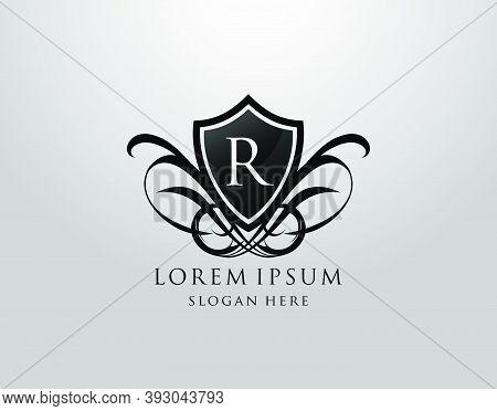 Majestic R Letter Logo. Vintage R Shield Design For Royalty, Restaurant, Automotive, Letter Stamp, B