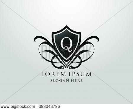 Majestic Q Letter Logo. Vintage Q Shield Design For Royalty, Restaurant, Automotive, Letter Stamp, B