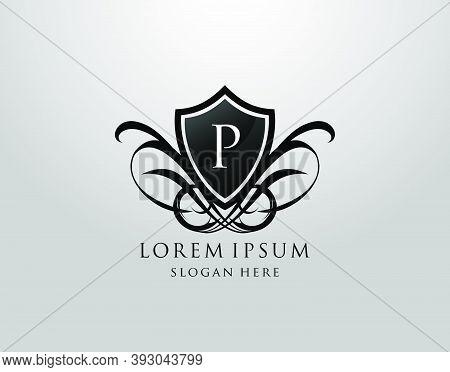 Majestic P Letter Logo. Vintage P Shield Design For Royalty, Restaurant, Automotive, Letter Stamp, B