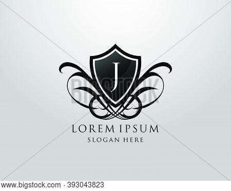 Majestic J Letter Logo. Vintage J Shield Design For Royalty, Restaurant, Automotive, Letter Stamp, B