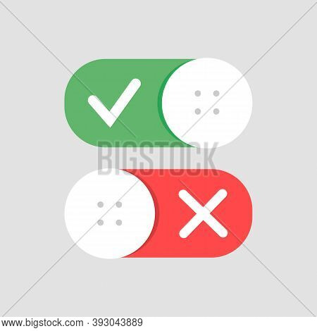 Toggle Switch Vector Icon, On And Off Position Simple Icons, Modern Minimal Flat Design Style