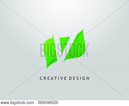Green V Letter Logo. Modern Abstract Of Initial V With Simple Leave Shape. Eco Nature Concept Design