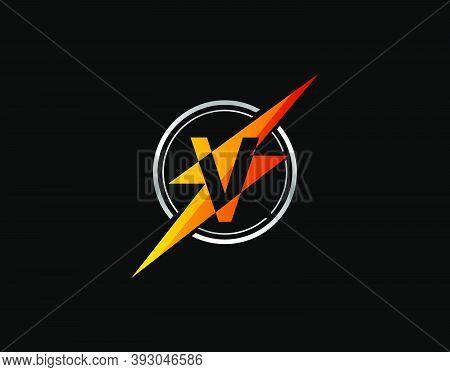 Flash V Letter Logo. Creative Icon Created From Negative Space Of Initial V Combined With Thunder Sh
