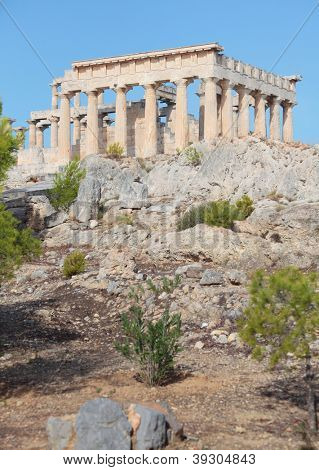 A view of the Doric temple of Aphaia on Aegina island in the Saronic Gulf, south of Athens.