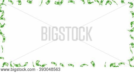 American Dollar Notes Falling. Sparse Usd Bills On White Background. Usa Money. Curious Vector Illus