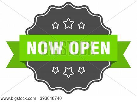 Now Open Label. Now Open Isolated Seal. Sticker. Sign
