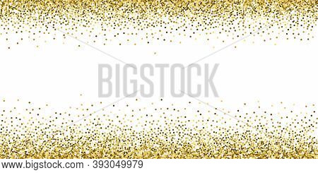 Round Gold Glitter Luxury Sparkling Confetti. Scattered Small Gold Particles On White Background. Ar