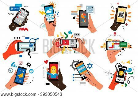Hands With Smartphones Doodle Set. Human Palms Holding Mobile Phones With Colour Touchscreen Images