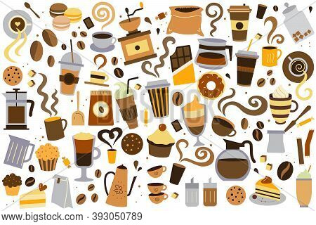 Coffee Time Doodle Set. Collection Of Different Sorts Of Liquid Drinks Hot Beverages With Caffeine M