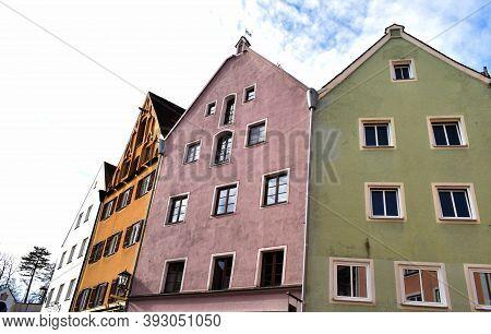 Fussen , Bavaria, Germany , November 03, 2020, Old Houses In The Center Of The City , November 03, 2