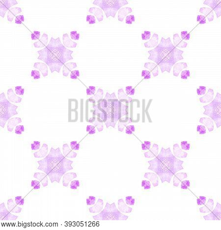 Watercolor Ikat Repeating Tile Border. Purple Amazing Boho Chic Summer Design. Textile Ready Bizarre