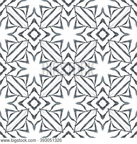 Textile Ready Fresh Print, Swimwear Fabric, Wallpaper, Wrapping.  Black And White Comely Boho Chic S