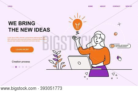 Young Beautiful Girl Creates An Idea. Business Template Illustration. Will Be A Prefect As A Landing