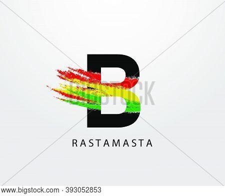 B Letter Logo With Splatter And Rasta Color. Letter B Reggae