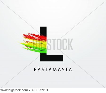 L Letter Logo With Splatter And Rasta Color. Letter L Reggae