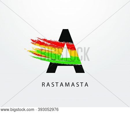 A Letter Logo With Splatter And Rasta Color. Initial A Reggae