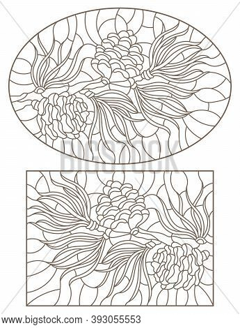 Set Of Contour Stained Glass Illustrations With Cedar Cone On A Branch , Dark Outlines On White Back